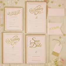 Invitation With Rsvp Card Pastel Pink And Gold Foiled Wedding Rsvp Cards By Ginger Ray