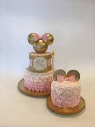 mickey and minnie cake topper 1st birthday gold and pink minnie cake and smash cake mickey