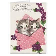 retro kitten birthday greeting cards zazzle