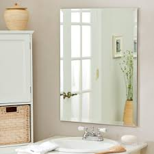 Glass Mirrors For Bathrooms Gorgeous Designs With Bathroom Frameless Mirrors Large Mirror