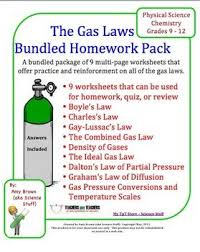 gas laws bundle of 9 homework worksheets ideal gas law