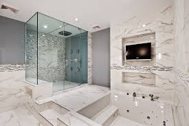 awesome bathroom paint colors with glass door and black tv close