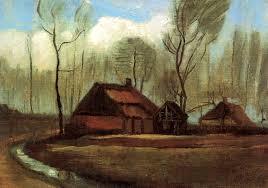 farmhouses among trees 1883 vincent van gogh wikiart org
