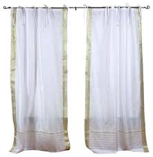 stunning white tie top curtains decor with white silver tie top