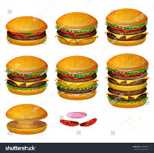 american burgers all size illustration set various stock vector