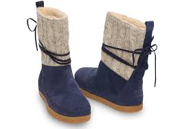 womens knit boots toms navy cable knit suede s nepal boots in blue lyst