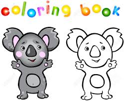 funny cartoon koala coloring book vector illustration for child