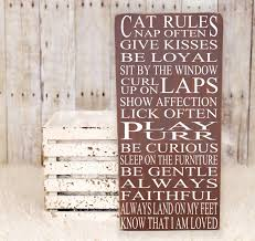 cat rules subway art vinyl wooden sign 12 x 24