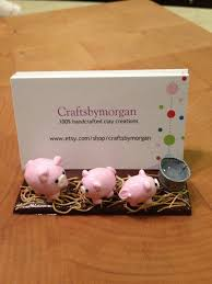 Farm Business Card Polymer Clay Business Card Holder Stand Pigs On By Craftsbymorgan