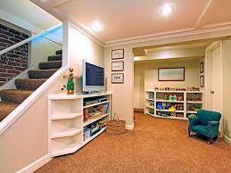 comfortable basement room decorating ideas low profile shelves
