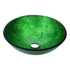 anzzi posh series deco glass vessel sink in celestial green ls