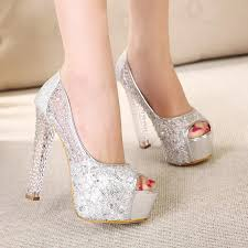 wedding shoes nyc in stock high heel gold lace silver wedding shoes peep toe sequins