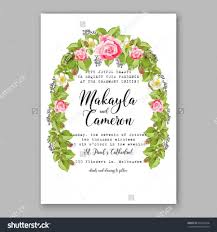 romantic pink rose bridal bouquet wedding invitation template