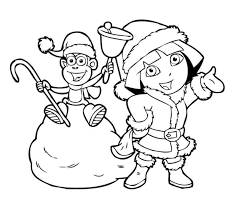dora winter boots coloring christmas coloring pages