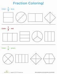 fraction coloring worksheet education com