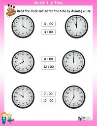 read the clock and match with the given time u2013 worksheets