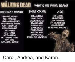 Walking Dead Birthday Meme - the walkingdead who s on your team birthday month shirt color age