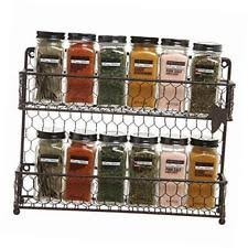 Spice Rack Organizer Rustic Brown 2l Tier Wire Wall Mounted Spice Rack Jars Storage