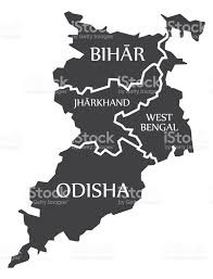 bihar jharkhand west bengal odisha map illustration of indian