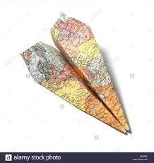 Map Paper Map Folded As A Paper Airplane Cut Out White Background Stock
