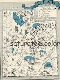 Map Of Utah Cities Utah Map 1931 Original Vintage Picture Map Antique Utah Map