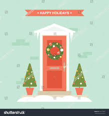 christmas winter holidays front door decorations stock vector