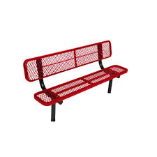 jeco 50 in scroll curved back steel park bench pb003 the home depot
