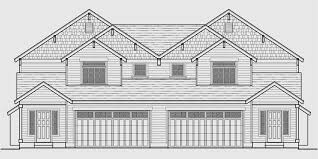 Duplex Floor Plans With 2 Car Garage House Front Color Elevation View For D 551 Two Story Duplex House