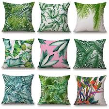 Palm Tree Bedroom Furniture by Aliexpress Com Buy 3d Green Leaf Cushion Cover Watercolor