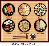 cuisine japonaise traditionnelle cuisine ensemble plats plat icônes japonaise vecteurs