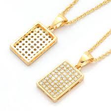 necklace simple design images Simple design gold rectangle tag pendant necklace for friends men jpg