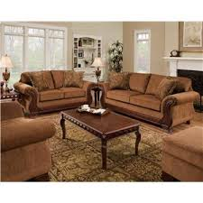 upholstered loveseat with exposed wood frame 6900 by american