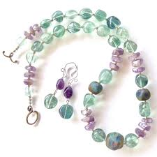 art glass necklace images Dove art glass necklace with purple and green gemstones earth jpg