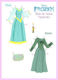 disney u0027s frozen paper dolls elsa and anna pyjamas by evelynmckay