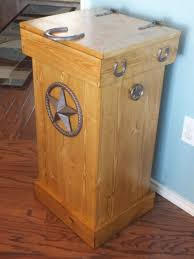 amish pine wood lift top trash bin cabinet kitchen cans 4 ooferto