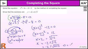 quadratic equation completing the square gcse maths revision exam