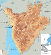 Rwanda Africa Map by Hope Tours Safaris Africa The Physical Map Of Burundi East Africa