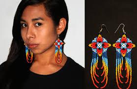Native American Beaded Earrings Huichol Colorful Huichol Native American Earrings Native Dangle Earrings