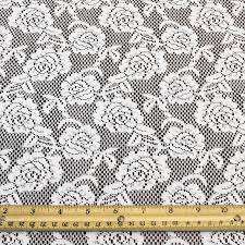 white lace fabric by the yard or wholesale bed of roses design