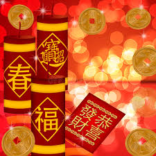 new year gold coins new year firecrackers with gold coins stock illustration