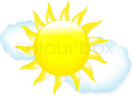 sun with clouds weather symbols isolated on white background