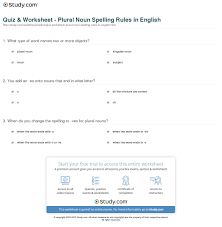 Nouns Worksheet Quiz U0026 Worksheet Plural Noun Spelling Rules In English Study Com