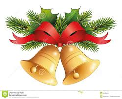 gold christmas bell with red ribbon on fir decor stock photo