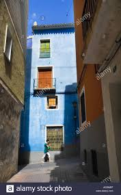 colourful mediterranean houses in the streets of villajoyosa on