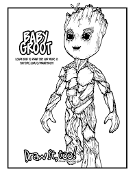baby groot guardians of the galaxy vol 2 drawing tutorial