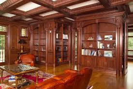 classic library design with classic coffer ceiling kit in cherry