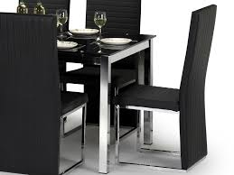 julian bowen tempo 150cm black glass dining table and 6 black faux leather chairs set