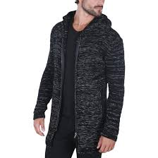 fashion for heavy men carisma men s cardigan heavy knitted hooded black for men