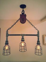 Edison Bulb Island Light Hanging Industrial Pipe Pulley Light With 3 By Desertandiron
