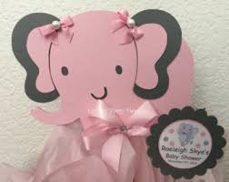 elephant baby shower centerpiece in blue and gray elephant